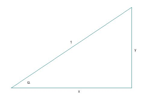 triangle with hypotenuse of length                         1